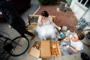 bride bike brunch box croissants